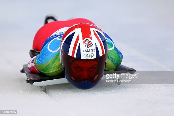 Amy Williams of Great Britain and Northern Ireland competes in the women's skeleton on day 7 of the 2010 Vancouver Winter Olympics at The Whistler...