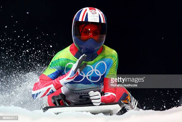Amy Williams of Great Britain and Northern Ireland competes in the women's skeleton fourth heat on day 8 of the 2010 Vancouver Winter Olympics at the...