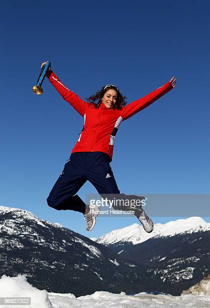 Amy Williams of Great Britian poses for a photo with her Gold Medal after winning the Women's Skeleton event on 19th February, on day 10 of the 2010...