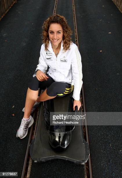 Amy Williams of the British Skeleton Team poses for a picture at the British Bobsleigh and Skeleton practice facility at Bath University on September...