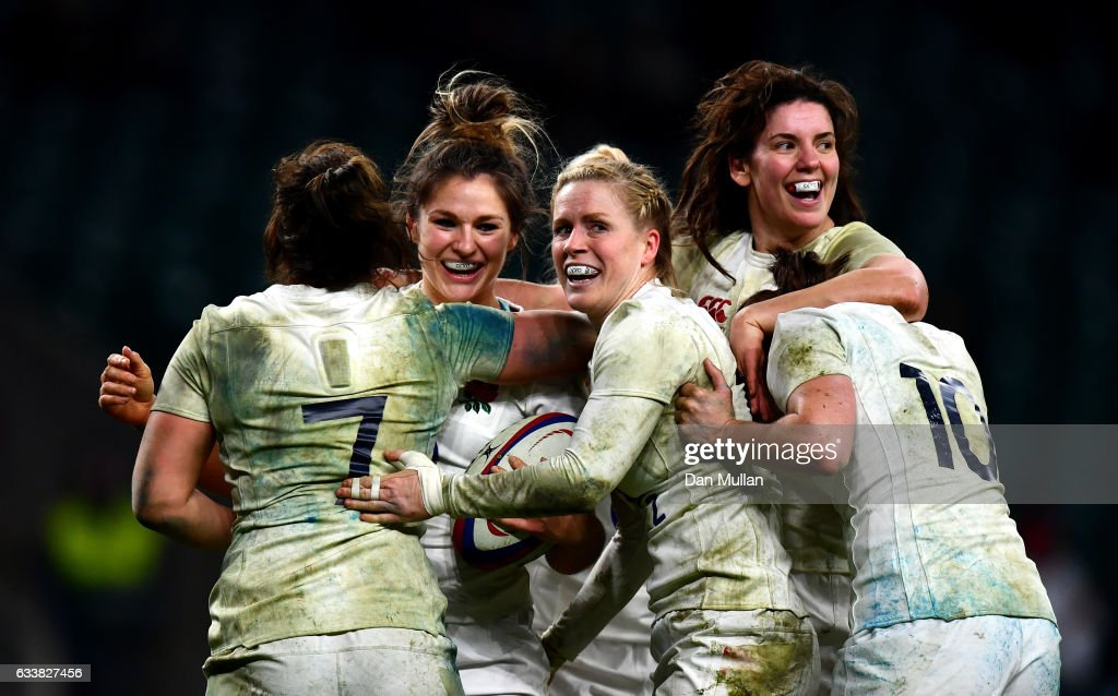 Amy Wilson Hardy of England celebrates scoring her sides second try with her England team mates during the Women's Six Nations match between England and France at Twickenham Stadium on February 4, 2017 in London, England.