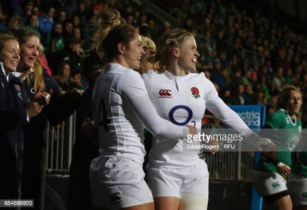 Amy Wilson Hardy of England celebrates with teammate Danielle Waterman after scoring the opening try during the Women's Six Nations match between...