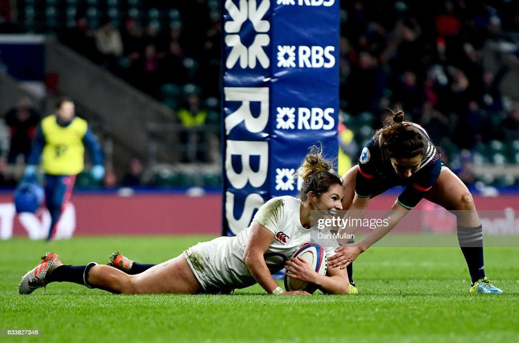 Amy Wilson Hardy of England scores her sides second try during the Women's Six Nations match between England and France at Twickenham Stadium on February 4, 2017 in London, England.