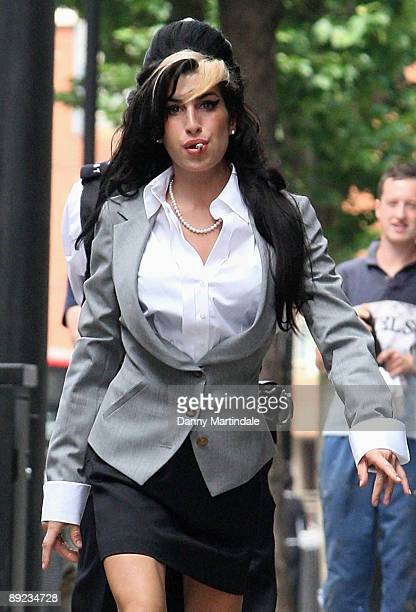 Amy Winehouse arrives at court on the second day of her assault trial at The City of Westminster Magistrates Court on July 24, 2009 in London,...