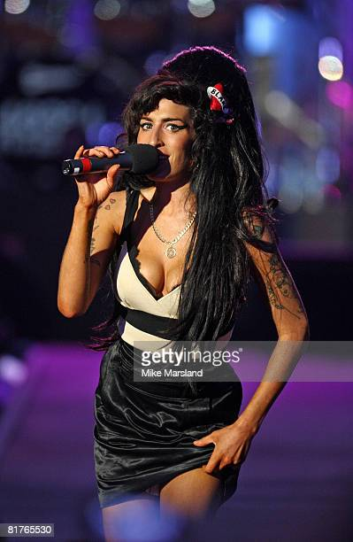 Amy Winehouse attends the 46664 Concert part of Nelson Mandela 90th birthday celebrations on June 27 2008 at Hyde Park in London