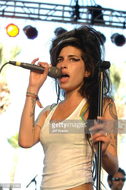 Amy Winehouse during Coachella Valley Music and Arts Festival Day One Amy Winehouse at Empire Polo Field in Indio California United States