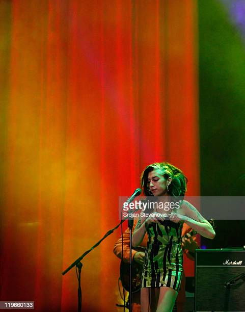 Amy Winehouse performs live at Kalemegdan Park on June 18, 2011 in Belgrade, Serbia. This was the singer's last live concert performance before her...
