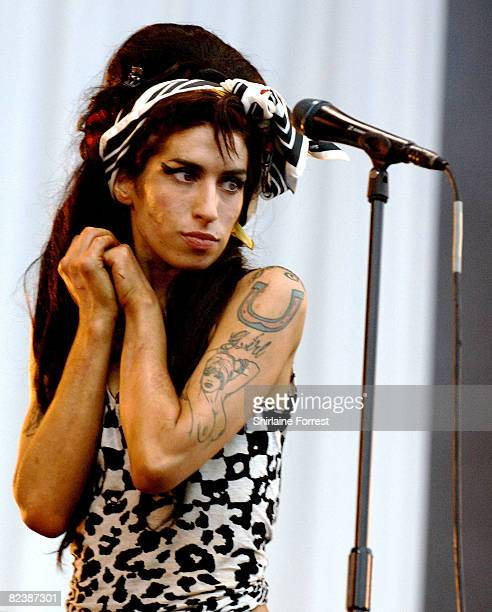 Amy Winehouse performs on day one of the V Festival at Weston Park on August 16 2008 in Telford England