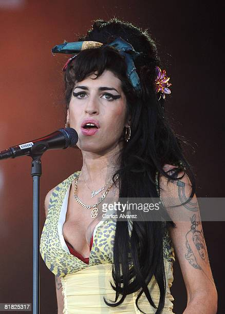 Amy Winehouse performs on stage during Rock in Rio Day 3 on July 04 2008 near Madrid in Arganda del Rey Spain