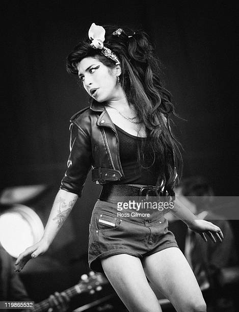 Amy Winehouse performs on the Main Stage at T in The Park on July 13 2008 in BaladoKinrosshire Scotland