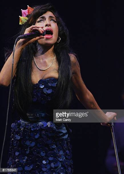 Amy Winehouse performs on the Pyramid Stage at the Glastonbury Festival at Worthy Farm Pilton on June 28 2008 in Glastonbury Somerset England Nearly...