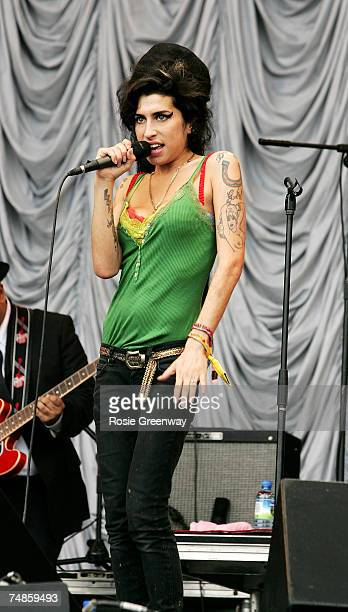 Amy Winehouse performs on the Pyramid Stage on the first day ot the Glastonbury Festival at Worthy Farm Pilton near Glastonbury on June 22 2007 in...