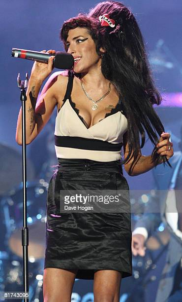 Amy Winehouse performs onstage during the 46664 Concert In Celebration Of Nelson Mandela's Life held at Hyde Park on June 27 2008 in London England