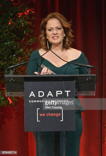 Amy Wright speaks on stage during the Adapt Leadership Awards Gala 2018 at Cipriani 42nd Street on March 8 2018 in New York City