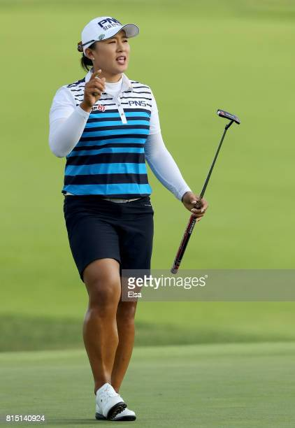 Amy Yang of Korea celebrates after her final putt on the 18th green during the US Women's Open round three on July 15 2017 at Trump National Golf...