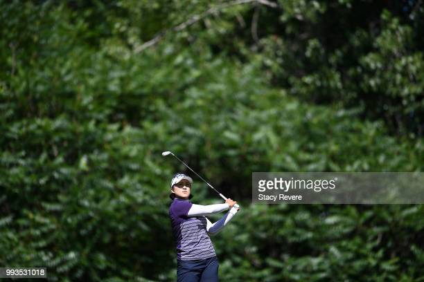 Amy Yang of Korea hits her approach shot on the first hole during the third round of the Thornberry Creek LPGA Classic at Thornberry Creek at Oneida...
