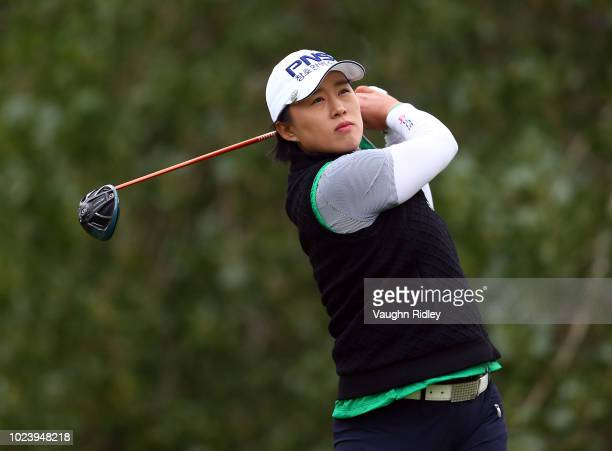 Amy Yang of Korea hits her tee shot on the 2nd hole during the final round of the CP Womens Open at the Wascana Country Club on August 26 2018 in...