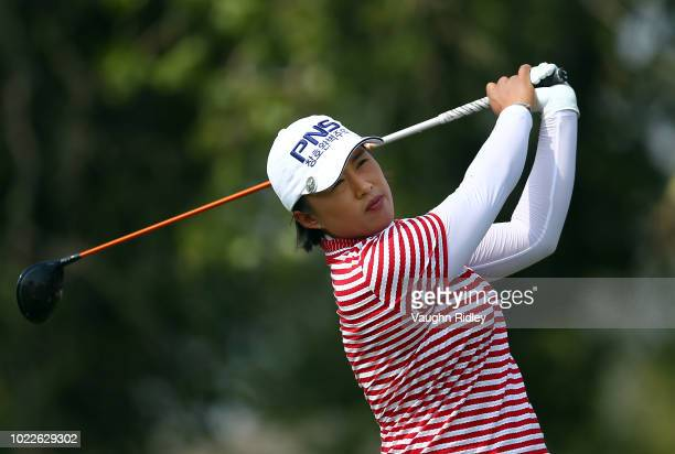 Amy Yang of Korea hits her tee shot on the 9th hole during the second round of the CP Womens Open at the Wascana Country Club on August 24 2018 in...