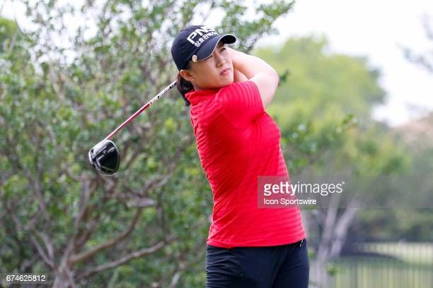 Amy Yang of Korea hits her tee shot on the second hole during the second round of the LPGA Volunteers of America Texas Shootout on April 28 2017 at...