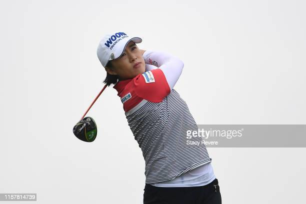 Amy Yang of Korea hits her tee shot on the third hole during the final round of the KPMG PGA Championship at Hazeltine National Golf Club on June 23...