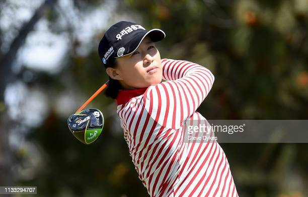 Amy Yang of Korea hits her tees shot on the 16th hole during the first round of the Kia Classic at the Aviara Golf Club on March 28 2019 in Carlsbad...