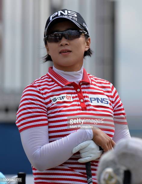 Amy Yang of Korea looks on at the 1st hole during the third day of the Aberdeen Ladies Scottish Open at Gullane Golf Course on July 28 2018 in...