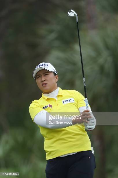 Amy Yang of Korea plays a shot on the second hole during round one of the CME Group Tour Championship at the Tiburon Golf Club on November 16 2017 in...