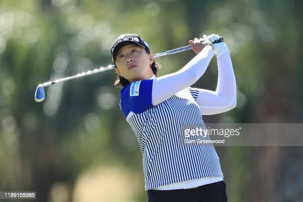 Amy Yang of Korea plays a shot on the second hole during the first round of the CME Group Tour Championship at Tiburon Golf Club on November 21 2019...