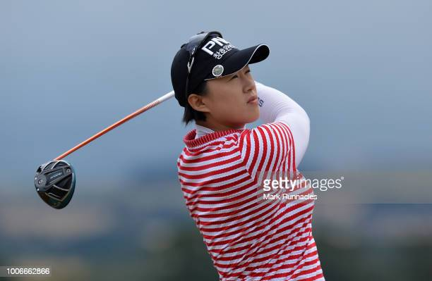 Amy Yang of Korea plays her tee shot at the 1st hole during the third day of the Aberdeen Ladies Scottish Open at Gullane Golf Course on July 28 2018...