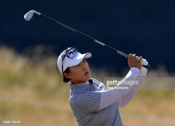 Amy Yang of Korea plays her third shot to the 18th hole during the second day of the Aberdeen Ladies Scottish Open at Gullane Golf Course on July 27...