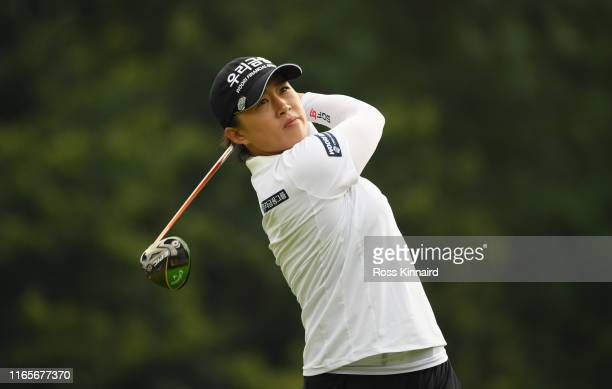 Amy Yang of Korea Republic tees off on the 4th hole during Day Two of the AIG Women's British Open at Woburn Golf Club on August 02 2019 in Woburn...