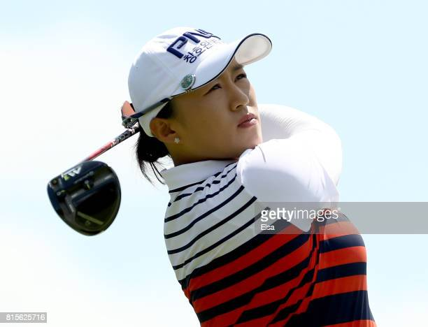 Amy Yang of Korea takes her shot from the second tee during the final round of the US Women's Open on July 16 2017 at Trump National Golf Club in...
