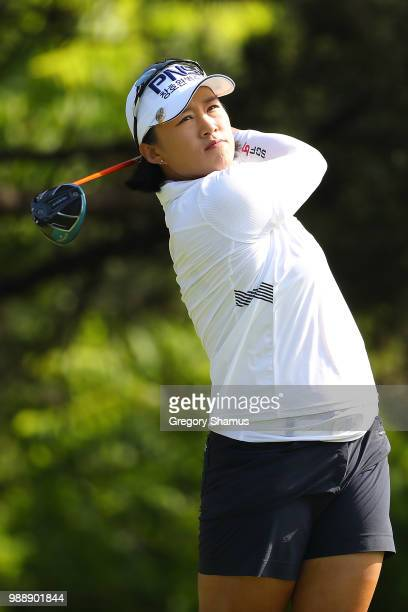 Amy Yang of Korea watches her drive on the second hole during the final round of the 2018 KPMG PGA Championship at Kemper Lakes Golf Club on July 1...