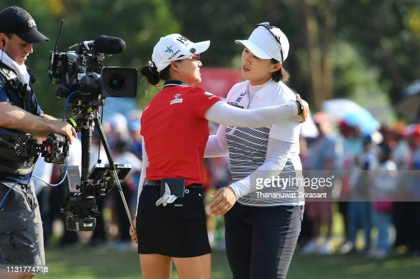 Amy Yang of Republic of Korea and Minjee Lee of Australia celebrates on the 18th green after winning the Honda LPGA Thailand at the Siam Country Club...