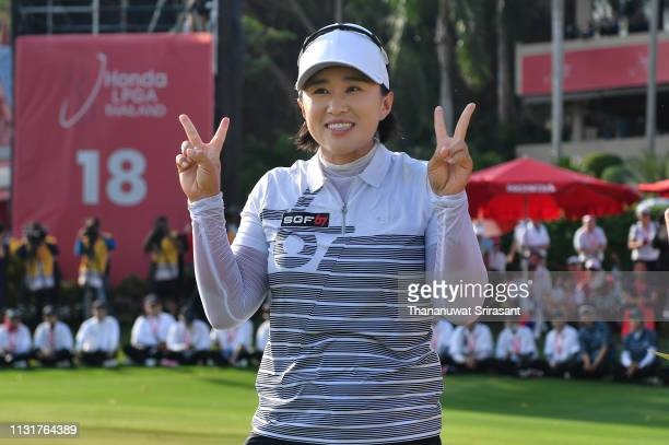Amy Yang of Republic of Korea celebrates on the 18th green after winning the Honda LPGA Thailand at the Siam Country Club Pattaya on February 24 2019...
