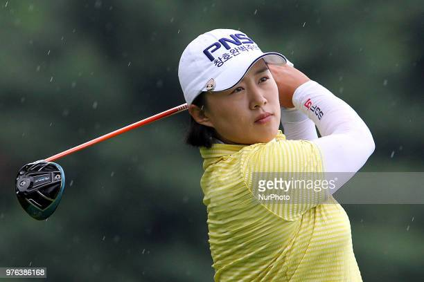 Amy Yang of Republic of Korea hits from the 5th tee during the third round of the Meijer LPGA Classic golf tournament at Blythefield Country Club in...