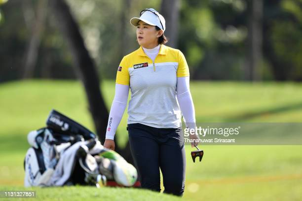 Amy Yang of Republic of Korea looks during the second round of the Honda LPGA Thailand at the Siam Country Club Pattaya on February 22 2019 in...