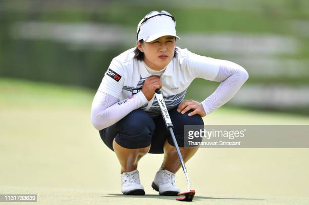 Amy Yang of Republic of Korea looks on green during the final round of the Honda LPGA Thailand at the Siam Country Club Pattaya on February 24 2019...