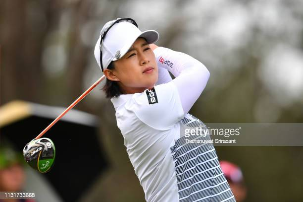 Amy Yang of Republic of Korea plays the shot during the final round of the Honda LPGA Thailand at the Siam Country Club Pattaya on February 24 2019...