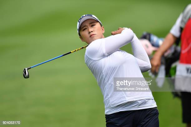 Amy Yang of Republic of Korea plays the shot during the Honda LPGA Thailand at Siam Country Club on February 25 2018 in Chonburi Thailand