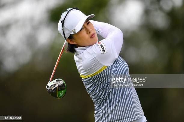 Amy Yang of Republic of Korea plays the shot during the third round of the Honda LPGA Thailand at the Siam Country Club Pattaya on February 23 2019...