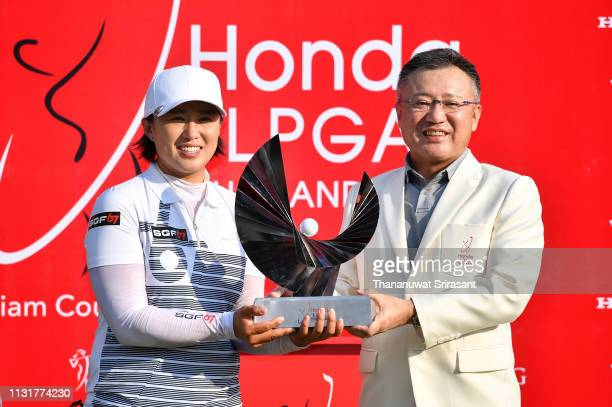 Amy Yang of Republic of Korea poses with the trophy after winning during the final round of the Honda LPGA Thailand at the Siam Country Club Pattaya...