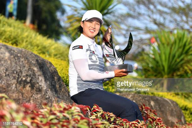 Amy Yang of Republic of Korea poses with the trophy after winning the Honda LPGA Thailand at the Siam Country Club Pattaya on February 24 2019 in...
