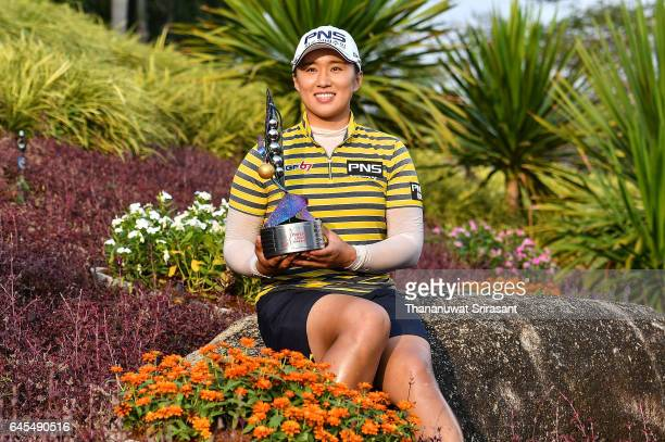 Amy Yang of Republic of Korea poses with the winner's trophy after winning the Honda LPGA Thailand at Siam Country Club on February 26 2017 in...