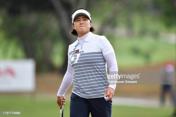 Amy Yang of Republic of Korea smiles during the final round of the Honda LPGA Thailand at the Siam Country Club Pattaya on February 24 2019 in...