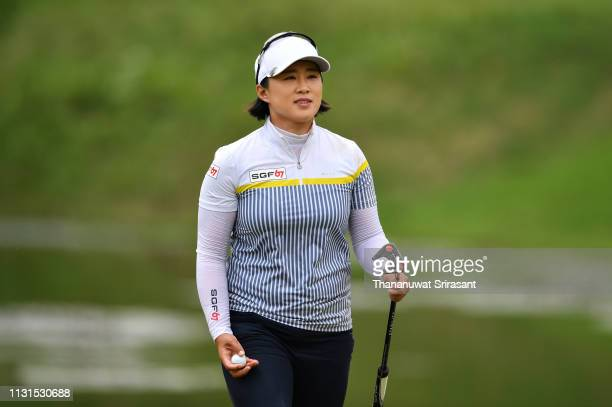 Amy Yang of Republic of Korea smiles during the third round of the Honda LPGA Thailand at the Siam Country Club Pattaya on February 23 2019 in...