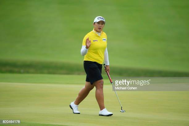 Amy Yang of South Korea acknowledges the gallery after her birdie on the 18th green during the second round of the Marathon Classic Presented By...