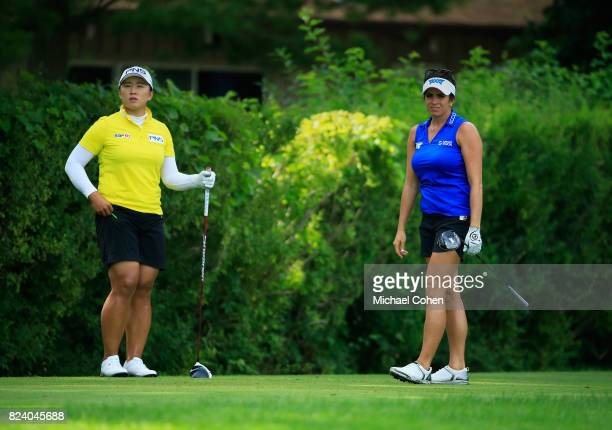 Amy Yang of South Korea and Gerina Piller look on during the second round of the Marathon Classic Presented By Owens Corning And OI held at Highland...