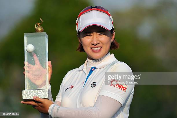 Amy Yang of South Korea celebrates during day four of the 2015 LPGA Thailand at Siam Country Club on March 1 2015 in Chon Buri Thailand