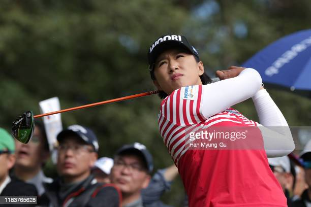 Amy Yang of South Korea drives from a tee on the 9th hole the final Round of 2019 BMW Ladies Championship at LPGA International Busan on October 27...